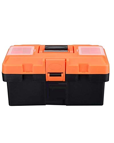 "Edward Tools Heavy Duty Plastic Tool Box 14"" - Small Top Accessory Boxes - Grip Handle - Removable Organizer Tools Tray - Secure Latch Locking Lid - Sturdy Frame"
