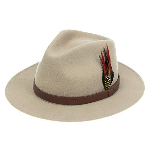 Fedora - Sombrero de fieltro de lana para hombre y mujer, diseño clásico de ala ancha con plumas vintage