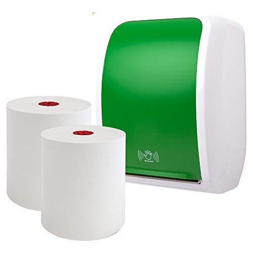 Blanc HYGIENIC - Handtuchrollenspender-Set Sensor: Blanc Cosmos mit 6 Handtuchrollen Premium TAD in grün/weiß - berührungslose Nutzung- Produktset