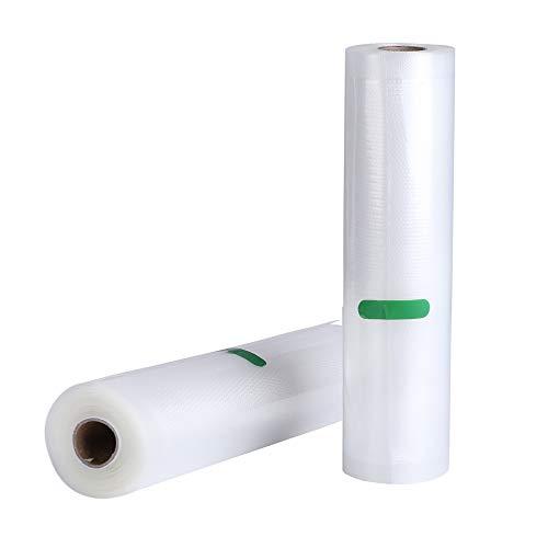 Deeplee 2 Rollen Vakuumierfolie 28x500cm Vakuumierbeutel für alle Balken-Vakuumierer, Profi Folienrollen Mit Geprägte Struktur, Wiederverwendbar, Extrem Reißfest, BPA frei