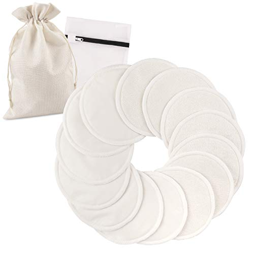 Phogary 14PCS Coussinets d'allaitement lavables, Réutilisable Bambou bio Coussinets d'allaitement avec sac à linge et Sac de rangement - Absorbant, hypoallergénique, Tapis écologiques d'allaitement