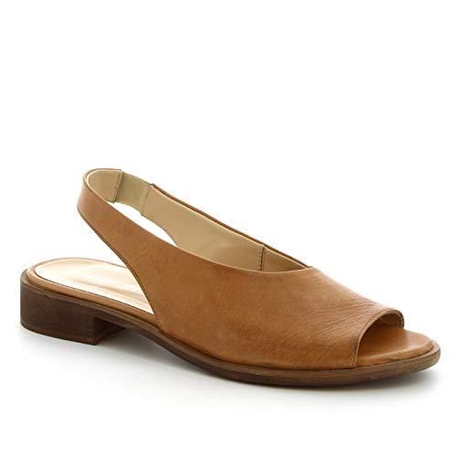 Leonardo Shoes Sandalias Planas Mujer Hechas a Mano en Piel de Becerro marrón - Número de Modelo: 4624 ROK Toffy - Tamaño: 37 EU