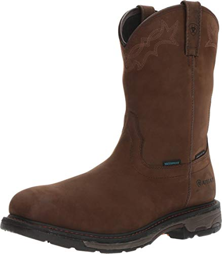 Ariat Men's Workhog Pull-on H2O Composite Toe Work Boot, Oily Distressed Brown, 10 D US