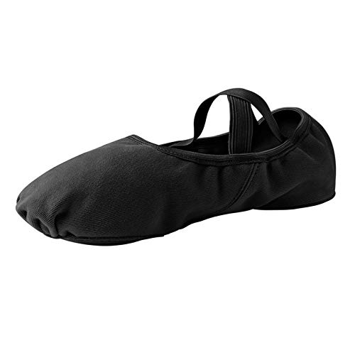 STELLE Stretch Canvas Split Sole Ballet Shoes Slippers for Women Adult Girls(Black, 8MW)
