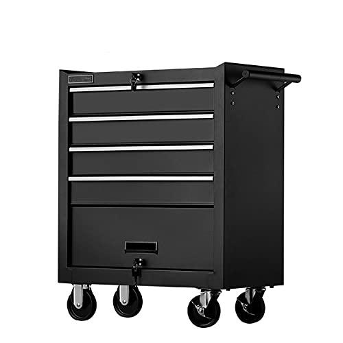 LiChaoWen Carritos de Servicio Carro de Herramientas Multifuncional Carretilla de Carrito Tipo de cajón Multi-Capas Mantenimiento Mantenimiento VEHÍCULO (Color : Black, Size : 61.6x33x77cm)