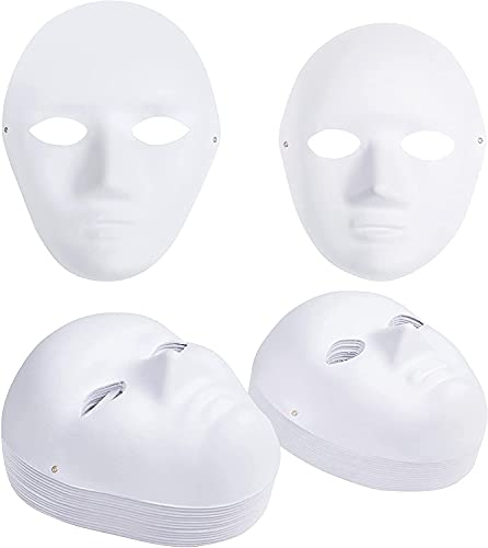 Belle Vous Máscara Blanca Papel Mache (Pack de 30) Mascaras para Hombres y Mujeres 2...