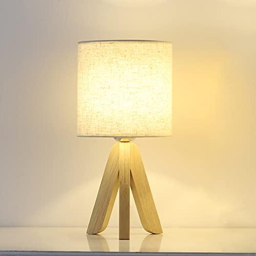 Lámpara de mesa Lámpara de mesa moderna con base de madera y pantalla de lino para mesita de noche...