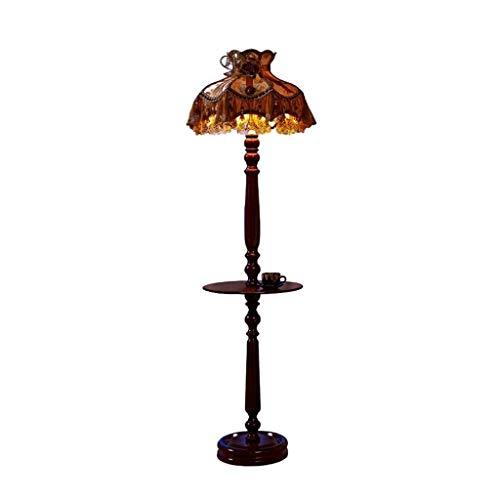 YHtech Led creativo de lujo de estilo europeo de tela lámpara de pie, control remoto de América del estilo rural con una pequeña mesa de café Tabla dormitorio lámpara de cabecera de estar Decoración d