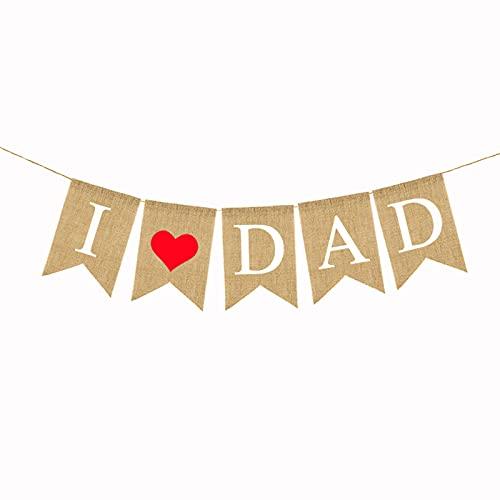 NIUXICH Guirnalda del Día del Padre, guirnalda de arpillera para el Día del Padre Feliz Banner para regalos del Día del Padre y decoración de fiesta