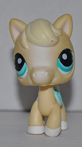 Horse #403 (Cream, Blue Saddle) - Littlest Pet Shop (Retired) Collector Toy - LPS Collectible Replacement Single Figure - Loose (OOP Out of Package & Print)