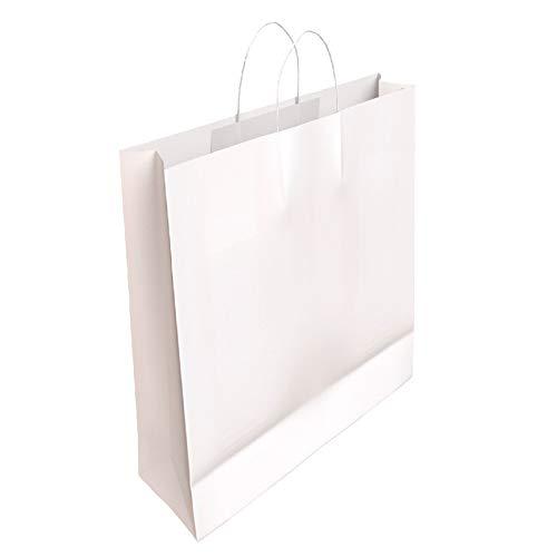 [CA4007] 50 x Bolsa de Papel Kraft Blanca con Asas Rizadas 32 x 24 x 10 CM