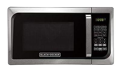 Black+Decker, Stainless Steel EM925AJK-P1 0.9-Cu. Ft. Pull Handle Microwave