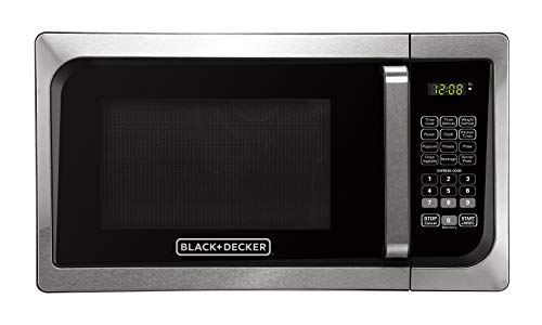 Black+Decker, Stainless Steel EM925AJK-P1 0.9-Cu. Ft. Pull Handle Microwave