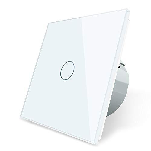 LIVOLO Interruptor con mando a distancia con pantalla LED Interruptor para pantalla táctil de vidrio cristalino Estándar UE 1 Gang 2 way,VL-C701SR-11-R