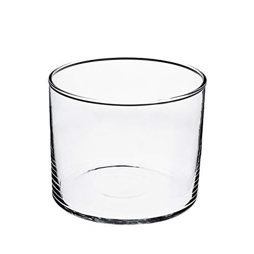 INNA-Glas Jarrón cilíndrico de Cristal Sansa, Transparente, 20cm, Ø 25cm - Maceta de Mesa -...
