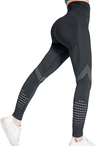 CheChury Leggings Mujer Push Up Mallas Pantalones Deportivos anticeluliticos Suave Malla Transpirable Elásticos Alta Cintura Elásticos Yoga Fitness de Control la Barriga