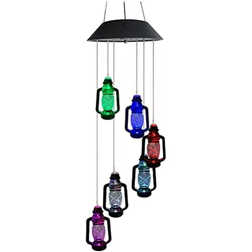 DUCUT Luz de Campanas de Viento solares Que cambian de Color,lámpara de carillón de Viento Solar 6 LED Que cambian de Color Colorido carillón de Viento Lámpara