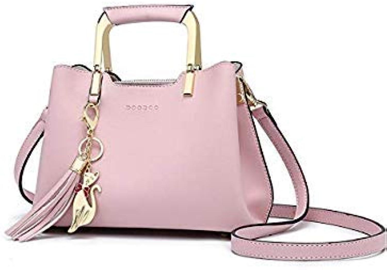 Bloomerang DOODOO Brand Women Handbag Tote Bag Female Shoulder Crossbody Bags Small Pu Leather Top-Handle Tassel Messenger Bags 3 colors color Pink 24x11x18cm