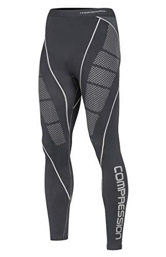 Compression MID Funcional Para Hombre Térmica activo transpirable Base Layer Pantalones Outdoor Ciclismo Running, color gris, tamaño xx-large
