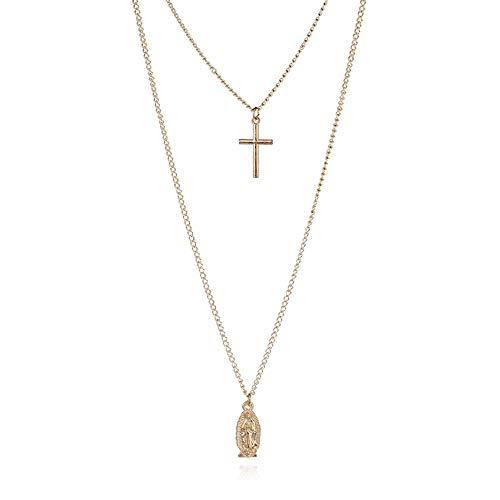 Gaodaweian Exhibición del Collar de la joyería Collar de múltiples Capas para Mujer y niña Crucifijo Virgen María Cruz de Oro Collar Colgante Vintage Collar de Joyas