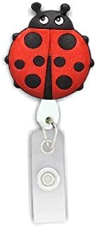 Rubber Ladybug Retractable Badge Holder