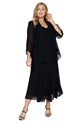 R&M Richards Long Mother of The Bride Plus Size Dress Made in USA Black
