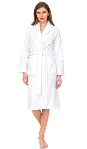TowelSelections Terry Cloth Bathrobe - Shawl Collar Terry Robe for Women and Men, 100% Turkish Cotton, Made in Turkey (White,S/M)