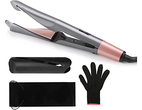 AMBIOPH - Plancha de pelo profesional, dos en uno, alisado o rizado, función antiencrespamiento y anti puntas dobles.