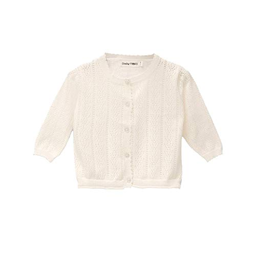 Baby Mood Golfino perforado 100 % algodón con cuello redondo, bordes acanalados, apertura con botones en la parte delantera, apto para la temporada de primavera y verano Color blanco. 6-9 Meses