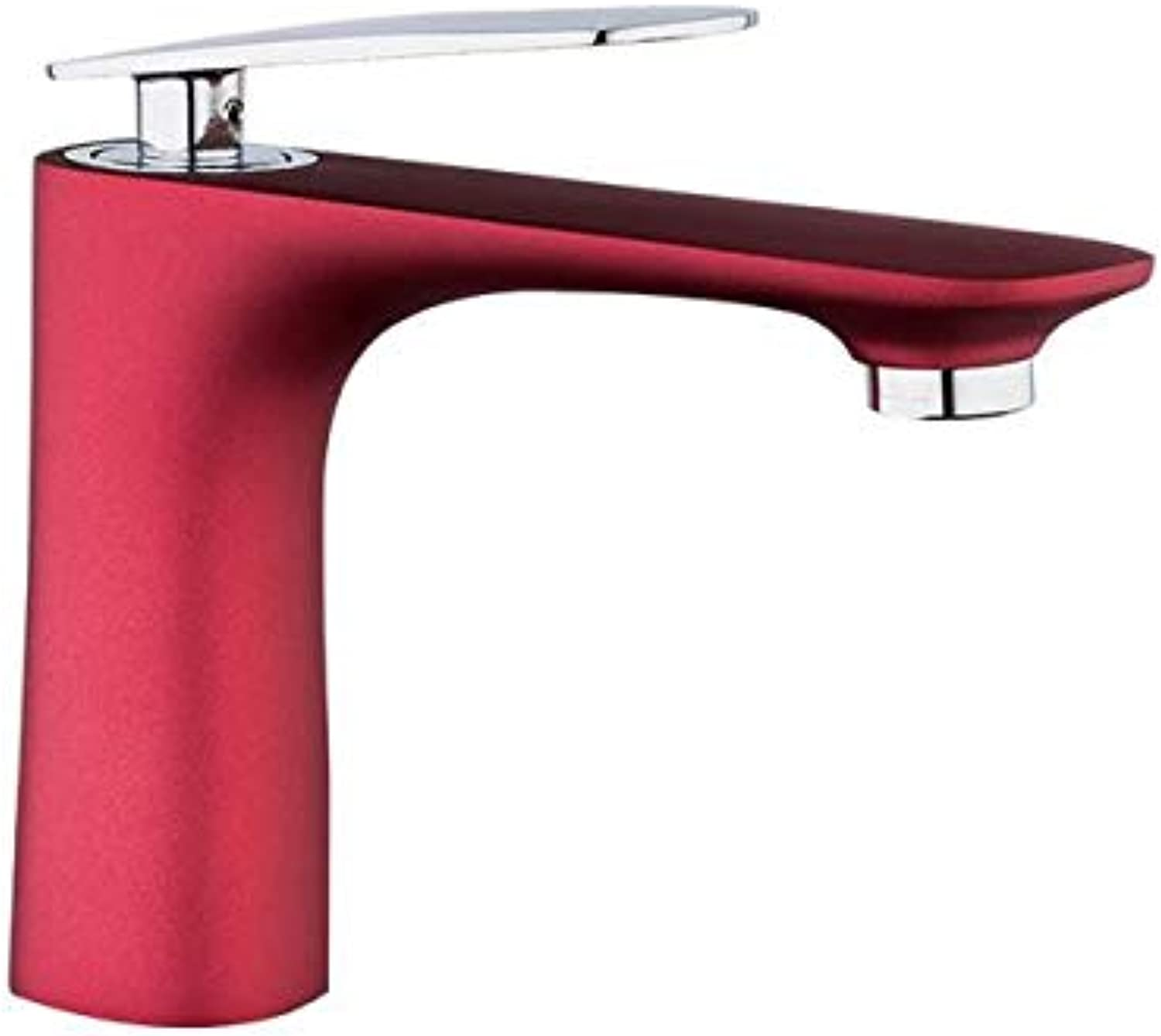 Makej High Quality Basin Faucet Water Tap Bathroom Faucet Solid Red Brass Single Handle Sink Cold and Hot Water Mixer Tap
