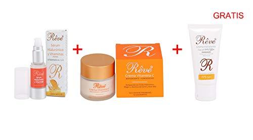 REVE Pack Vitamina C (1 Crema Vitamina C + 1 Sérum Multivitaminico) y 1 Crema Hidratante Protección 50 de Regalo