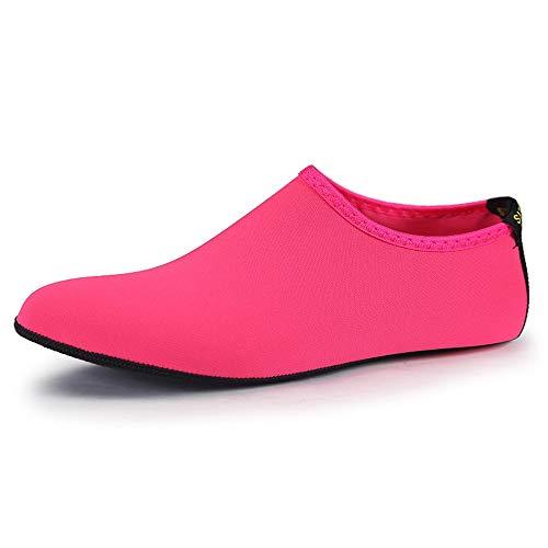 WHSS Zapatos de playa para hombre y mujer, color rosa, calcetines de buceo de secado rápido, calcetines de buceo para adultos y playa, antideslizantes, transpirables (color: rosa, talla: US5)
