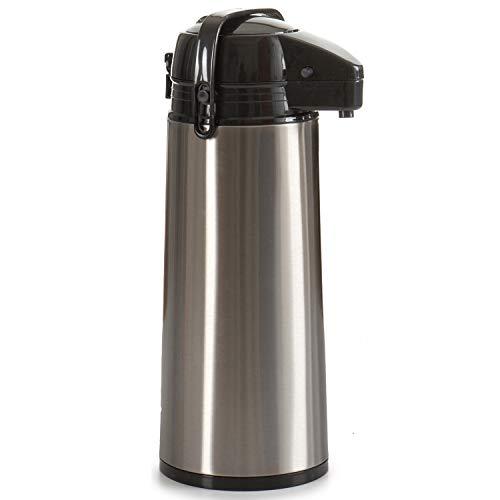 TU TENDENCIA ÚNICA Termo dispensador de acero inoxidable. Cabezal y asa de polipropileno negro. Capacidad 1,9 litros