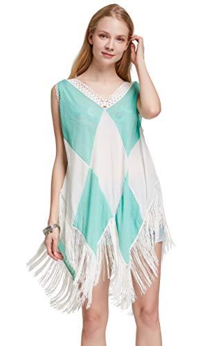 Costyleen Women Beach Dress Tassels Swimsuit Stitching Bikini Swimwear Cover Up Mint Green White XXL