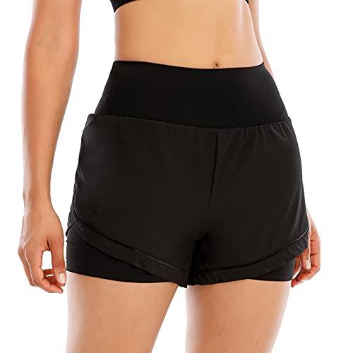 Sunbaca Calções femininos 2 em 1 para ioga Cintura elástica respirável de secagem rápida Calções desportivos para ginástica de corrida