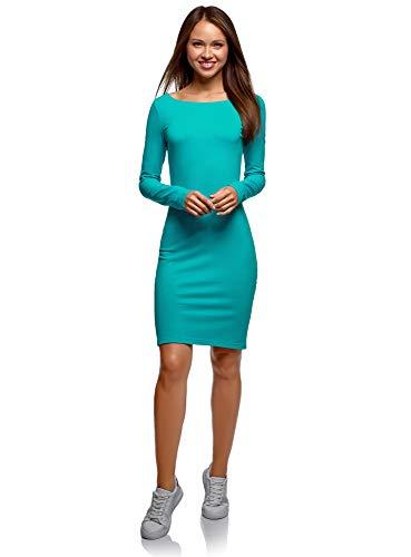 oodji Ultra Damen Enges Kleid Basic, Türkis, DE 36 / EU 38 / S