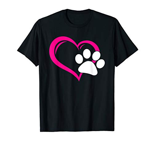 Cute I Love My Dog Puppy Cat Paw Heart T-Shirt