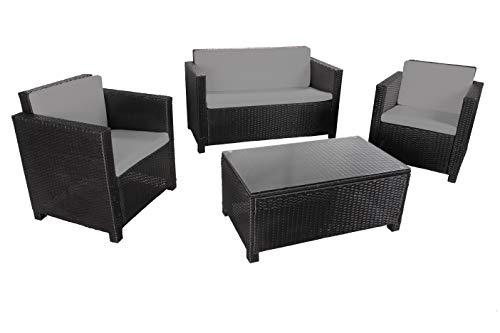 MATIRA - Muebles de Jardín de Resina Trenzada - 2 Sillones, 1 Sofá, 1 Mesa Baja Rectangular 90x50 cm - Cojines de Asiento y de Respaldo Mullidos - Resistente a la Intemperie - 4 plazas - Negro Gris