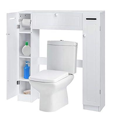 KINGSO Bathroom Organizer Over The Toilet Storage Cabinet for Bathroom with 2 Side Doors, Freestanding Wooden Bathroom Storage Cabinet Over Toilet Rack, Paper Holder and Adjustable Shelves, White