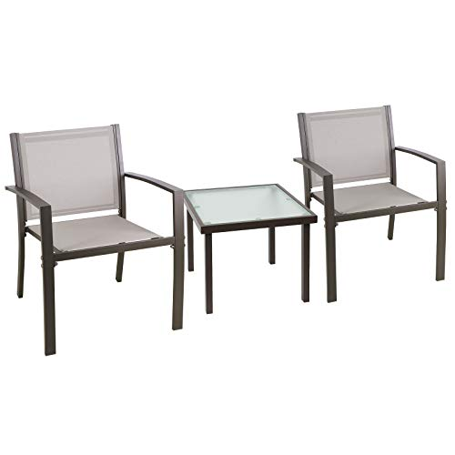 Joolihome Garden Furniture 2 Seater, Square Glass Coffee Table with 2 Textilene Armchairs, 2 + 1 Piece Indoor Outdoor Dining Set for Patio, Lounge, Balcony, Terrace (Brown)