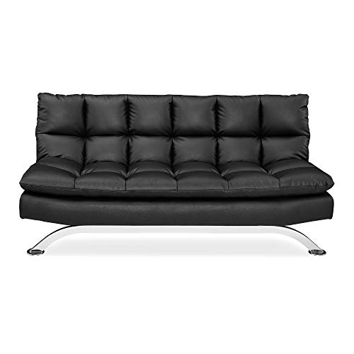 Pearington Bella Multi Position Leather Lay Flat Futon Sofa Bed, Black