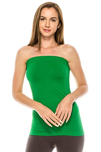 Kurve Women's Seamless Stretch Long Bandeau Tube Top -Made in USA-, Green B, X-Small / Medium