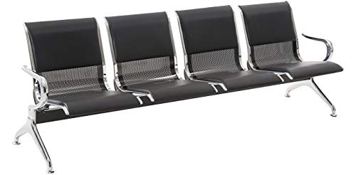 Banco de Espera Airport en Cuero Sintético | Banco Robusto con Base de Metal | Banco con Reposabrazos | Color:, Color:Negro/Negro, Tamaño:4 plazas