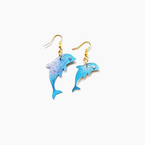 Winzige Delphin Ohrringe - Meer Liebhaber Ohrringe - Trend Schmuck - Little Blue Dolphins Juwel - Neuheit Baby Delphine Ohrringe - Geschenk für sie