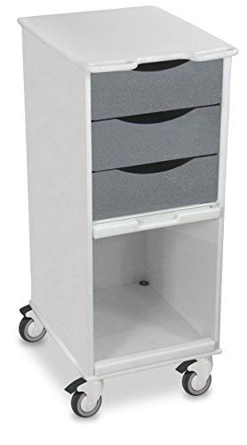 """TrippNT 51179 Polyethylene Core SP Space Saving Locking Lab Cart with Clear PETG Door, 15"""" Width, 35"""" Height x 19"""" Depth, Silver Metallic and White"""