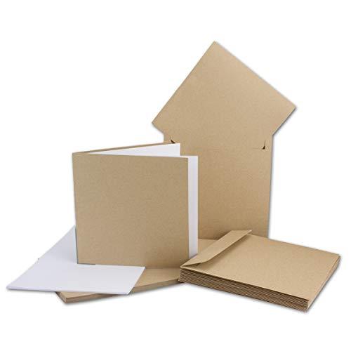 25x Kartenset quadratische Faltkarten + Einlegeblätter mit Umschläge- Recycling-Naturpapier - Naturfarbe braun + Einlegeblätter mit Umschläge