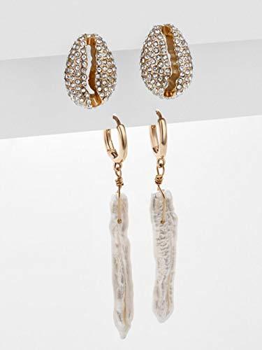 Female Rhinestone Huggie Earrings Set Amazing Price Gold Small Stud Earring for Women Jewelry 2 Pair Style 5