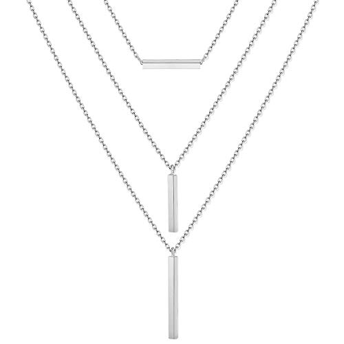 CEALXHENY 3PCS Layered Necklaces for Women Stick Bar Necklace Set Summer Chain Choker Necklaces Silver Minimalist Long Pendant Necklaces for Girls (A Silver)