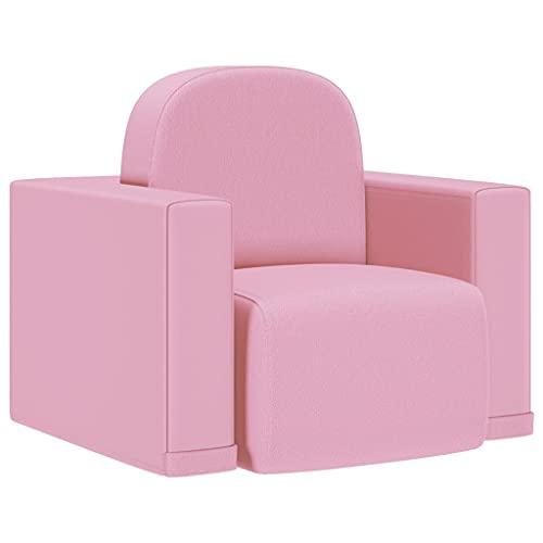 vidaXL Sofá Infantil 2 en 1 Niños Sillón Asiento Silla Salón Sala de Estar Dormitorio Habitación Muebles Mobiliario Cómodo de Cuero Sintético Rosa