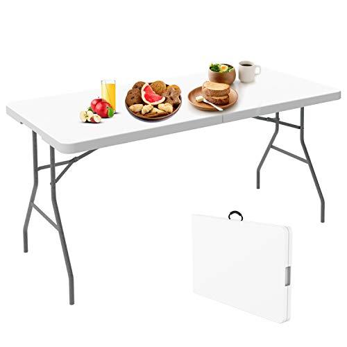 Todeco - Mesa Plegable Portátil, Mesa de Plástico Resistente - Material: HDPE - Carga máxima: 100 kg - 152 x 76 cm, Blanco, Plegable por la Mitad